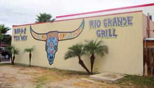 Outside wall of restaurant facing La Placita Park in Harlingen, Texas