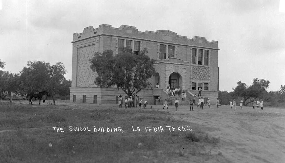"The first ""modern brick schoolhouse"" built in La Feria in 1913 in a photos shot by photographer Robert Runyon sometime between 1913-1920. Photo: Robert Runyon Photograph Collection/The Center for American History and General Libraries, University of Texas at Austin."